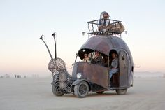Burning Man 2012: Snailmobile - The Golden Mean, an art car built on the chassis of a 1966 VW Beetle by metal artist Jon Sarriugarte