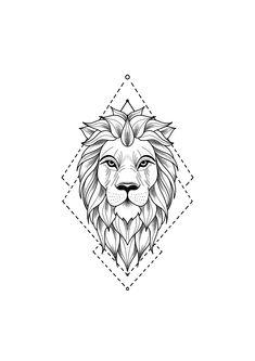 Tattoo Drawing - Drawing of a lion tattoo. A mix of art and geometry -Lion Tattoo Drawing - Drawing of a lion tattoo. A mix of art and geometry - lion tattoo with geometric touches © tattoo artist Mike Sledz ❤❤❤❤❤ Tattoo . Leo Tattoos, Animal Tattoos, Cute Tattoos, Hand Tattoos, Sleeve Tattoos, Tattoos For Guys, Tatoos, Flower Tattoos, Cross Tattoos