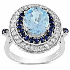 Sterling Silver 5 1/10 CT TGW Multi-gemstones Fashion Ring Amour. $95.00