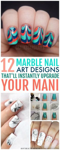 Obsessed with marble nail art and want to learn how to do it? Here are 12 DIY Marble Nail Art Designs that are worth copying! With water, nail polishes, and a dragging tool, it's quite easy to create gorgeous swirls on your nails. From stone nails to almond shaped, click pin to find a step by step tutorial you'll love? Hot Beauty Health #nailart #nails #naildesign #nailartdesigns #nailpolish #marblenailart