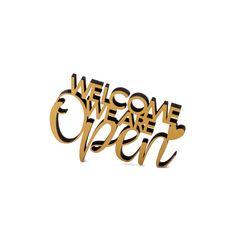 """Der 3D Schriftzug """"Welcome we are open"""" – ein ganz individuelles Geschenk für einen besonderen Menschen in Deinem Leben, ein persönliches Dekorationsstatement oder einfach ein schöner Spruch. Wood Letters, Statements, Montage, Wooden Signs, 3d, Garden, Special People, Duck Tape, Script Logo"""