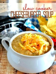It's a cheeseburger in a bowl!  This slow cooker cheeseburger soup is sure to please the entire family! Get the recipe at www.kitchenmeetsgi...