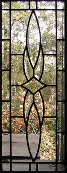 ZOOM to custom leaded glass vertical bevel sidelight window