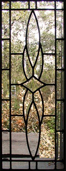 ZOOM to custom leaded glass vertical bevel sidelight window