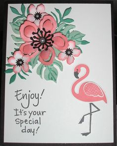 Flirty Flamingo. (Pin#1: Flowers: SU-3D/ Dies... Pin+: Birds...).