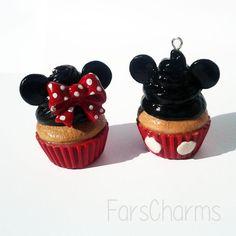Mickey Mouse Cupcake Polymer Clay Charm Disney by FarCreations Disney Clay Charms, Polymer Clay Disney, Polymer Clay Charms, Disney Diy, Disney Crafts, Mickey Mouse Cupcakes, Minnie Mouse, Custom Charms, Clay Food