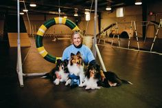 Handler Chris Hatchett will lead her 11-year-old Shetland sheepdog, Zoe, left, in competition at this month's American Kennel Club national championship. Hatchett's other dogs, Zar'n and Ziva, will not compete this year.