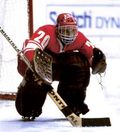 Vladislav Tretiak in the old school in the defensive zone stance.