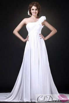 Charming A-line One-Shoulder Chiffon Chapel Train Beach Wedding Dress