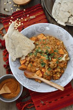 Sweet potato lentil wot with easy homemade injera
