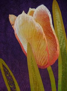 Tulips art quilt by Betty Busby as seen at Etsy
