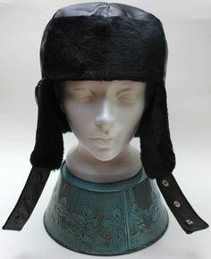 8360ec29ec4 New Black Faux Leather Bomber Aviator Russian Winter Earflap Hat Trapper  Trooper