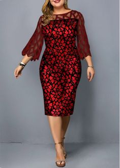 Plus Size Red Party Dress Plus Size Three Quarter Sleeve Mesh Panel Dress Plus Size Red Dress, Plus Size Cocktail Dresses, Large Size Dresses, Trendy Dresses, Dresses For Sale, Fashion Dresses, Dresses Online, Fashion Clothes, Elegant Outfit