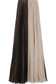 Maison Martin Margiela Color-block pleated chiffon maxi skirt