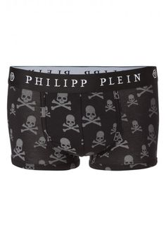Philipp Plein - 'Easygoing' Boxer Shorts Black   Rock attitude for this PHILIPP PLEIN boxer shorts enriched by the label's iconic logo waistband and by skulls all over.