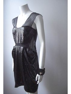 Image of Archive Thakoon Black Sequined Apron Dress