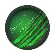 Green Merry Christmas 7 Inch Paper Plate