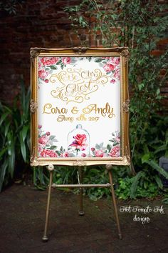 Beauty and The Beast Sign- Wedding sign-Welcome sign-Rose sign-Beauty and the Beast Decor-Bridal Shower-Be Our guest sign-YOU PRINT- Custom- by Hottomatoink2 on Etsy
