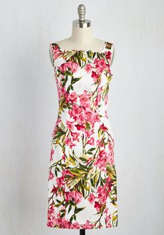 The Best Vignette to Come Dress - White, Pink, Floral, Print, Daytime Party, Pinup, Sheath, Sleeveless, Summer, Woven, Better, Cotton, Wedding Guest, Work