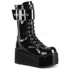 c97f400c26e3b1 Demonia - PETROL-150 - Black Patent - Unisex Platform Shoes   Boots