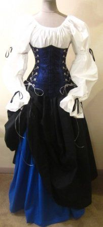 Amazon.com: Buccaneer Pirate Under-bust Corset Set (L/XL, Royal Blue): Clothing