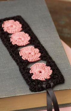 Crochet Rose Keepsake Bookmark free pattern.