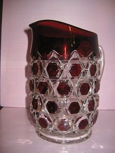 Red Block Ruby Stained Pitcher Bryce Brothers Glass