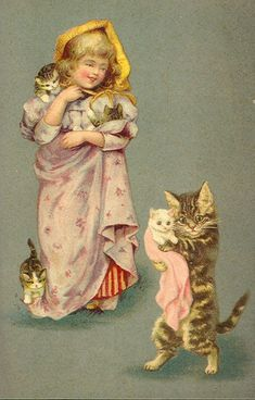 Little girl with kittys