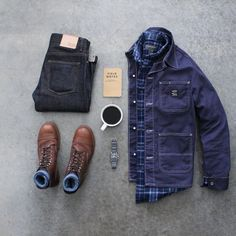 44cf2fbe65988 @awlker4715 with a rugged flatlay featuring iron ranger redwing heritage  boots soso selvedge denim navy