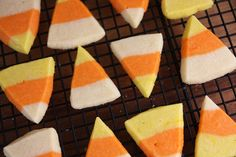 Super cute candy corn shaped sugar cookies - great for a kids Halloween party
