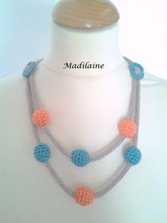 Mon collier perles coton vert émeraude, beige et orange : Collier par madilaine