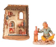 5 Inch Scale Pottery Shop and Collection by Fontanini Nativity Stable, Polymer Resin, Pottery Shop, Free Gifts, Bookends, Scale, Miniatures, Buildings, Collection