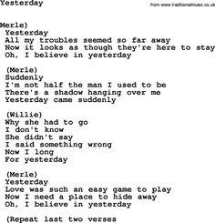 beatles lyrics yesterday - HD1348×1400