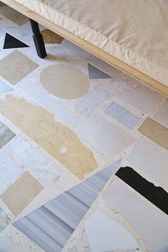 Floor, newly composed of reclaimed marble remnants - apt on the island of Kefallonia, Greece.