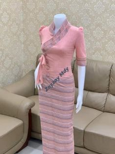 Traditional Dresses Designs, Designs For Dresses, Long Sleeve Mermaid Dress, Tribal Print Cardigan, Myanmar Dress Design, Indian Skirt, Myanmar Traditional Dress, Women's Fashion Dresses, Cotton Dresses