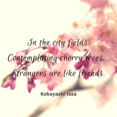 Japanese Haiku Poem by Kobayashi Issa. We are all friends in shared interests.