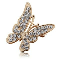 Fancy Butterfly Studded Rhinestone Gold Plate Brooches