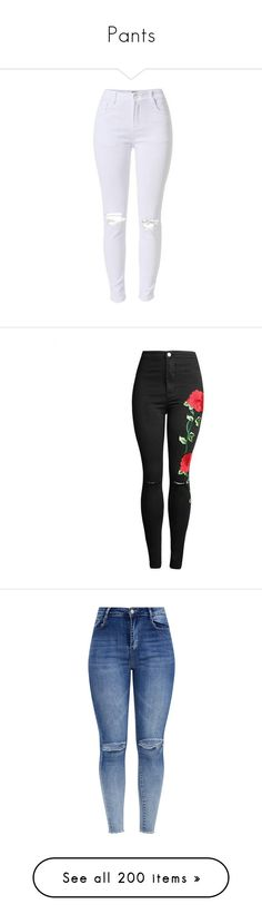 """""""Pants"""" by anjalenabvb ❤ liked on Polyvore featuring jeans, pants, bottoms, denim, white cropped jeans, white skinny jeans, white distressed skinny jeans, cropped skinny jeans, super skinny jeans and distressed skinny jeans"""