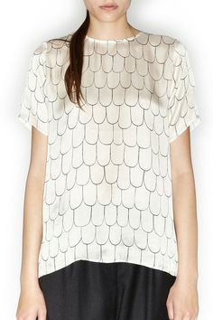 Silk top with hand-drawn feather print - chic black & white, repeating line pattern // Mr Larkin