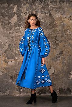 Ukrainian vyshyvanka midi embroidered dress by FashionFromUkraine Folk Fashion, Ethnic Fashion, European Fashion, Blue Fashion, Women's Fashion, Diy Dress, Dress Outfits, Fashion Dresses, Bohemian Style