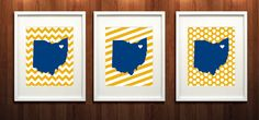 Kent Ohio State Set of Three Giclée Prints  8x10  by PaintedPost, $37.00 #paintedpoststudio - Kent State University - Golden Flashes- What a great and memorable gift for graduation, sorority, hostess, and best friend gifts! Also perfect for dorm decor! :)
