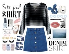 """""""Stripper Shirt, Denim Skirt"""" by best-outfits-xo ❤ liked on Polyvore featuring WithChic, Miss Selfridge, Dorothy Perkins, Lime Crime, Jane Iredale, Nails Inc., LULUS, OPI, Fujifilm and Smashbox"""