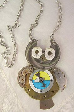 Vintage Watchparts Owl with Compass Steampunk Pendant Necklace | TimelessDesigns - Jewelry on ArtFire
