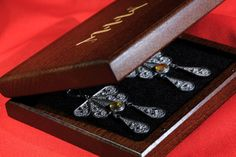 Silver filigree classic dangle earrings and a pendant with Baltic ambers, in exclusive wooden gift box