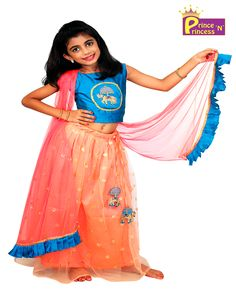 PrinceNPrincess E-Commerce online Shopping - Kids Grand Blue Peach Prince N Princess Sequence Net Lehenga Choli Kids Lehenga Choli, Net Lehenga, Party Frocks, Party Gowns, Blue Peach, Pink Yellow, Prince And Princess, Princess Party, Pathani Kurta