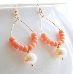 Peach Pink Coral, Pearl, 14kt Gold Filled Hammered Hoop