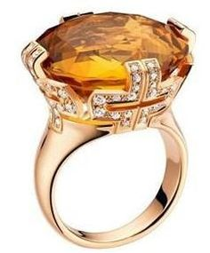 Rose Gold Ring, inlaid with yellow crystal and density diamond - Bvlgari