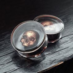 Copper Skull Ear Plugs In 316L Stainless Steel 8mm - 25mm