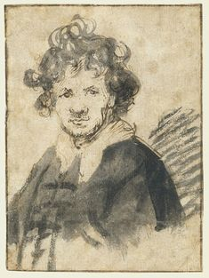 From Wikiwand: Self-portrait, pen and brush and ink on paper, c. 1628-1629
