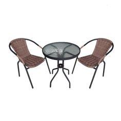 Balkon Set Rattan 2 Stühle Garten Teren Möbel Poly Runder Glas Tisch Bistro 3